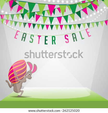 Easter sale bunny egg and bunting background EPS 10 vector royalty free stock illustration for greeting card, ad, promotion, poster, flier, blog, article, social media, marketing - stock vector