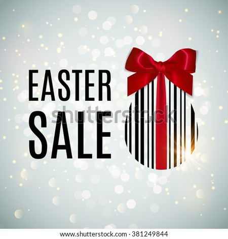 Easter SALE concept illustration.  Bar code Egg banner with realistic red bow. Happy Easter vector background. Egg sticker. Vector - stock vector