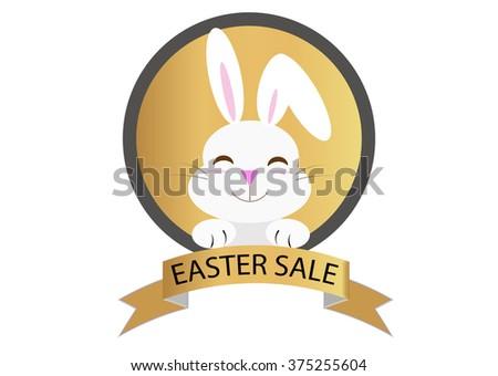 easter sale message with rabbit cartoon badge - stock vector