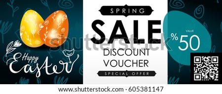 Easter sale vector illustration. Realistic festive eggs and sketch drawing spring birds, flowers and twigs. Flayer, voucher or coupon template. Chalkboard texture.