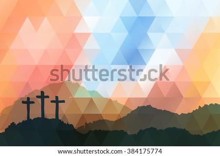 Easter scene with cross. Jesus Christ. Polygonal vector design.   - stock vector