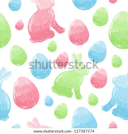 Easter scribble eggs and bunnies colorful seamless pattern - stock vector