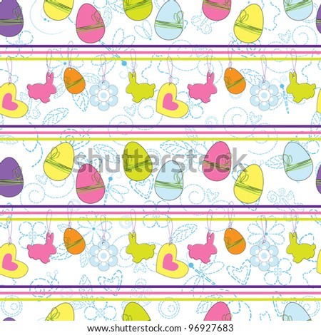 Easter seamless background with eggs and rabbits