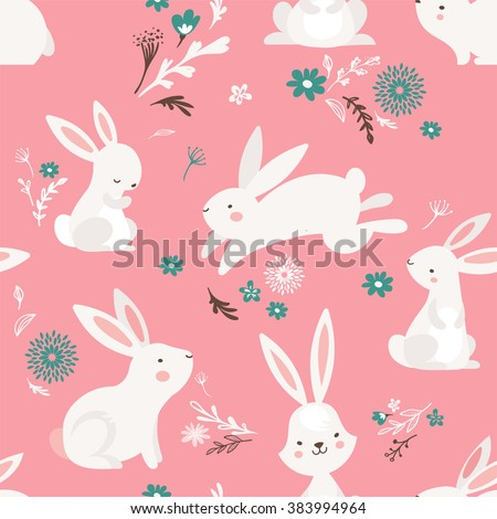 Easter seamless pattern design with bunnies - stock vector