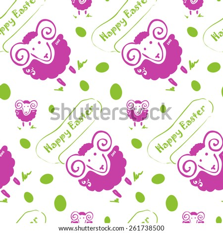 Easter seamless pattern. Sheep and Easter eggs. Easter year 2015 Vector illustration. - stock vector