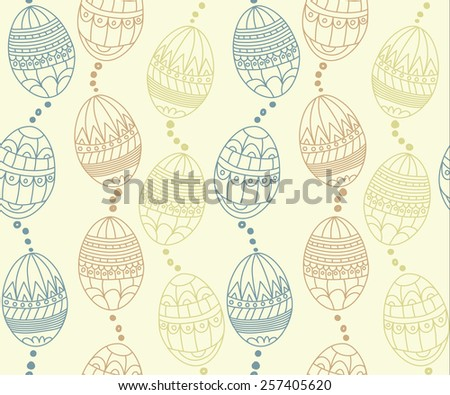 Easter seamless pattern with blue, brown, yellow eggs Vector illustration eps 10 - stock vector