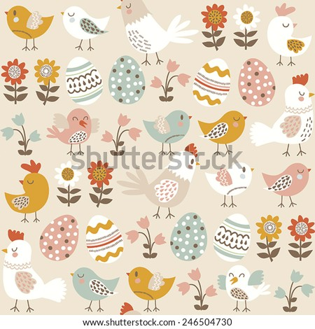 Easter seamless pattern with chicks