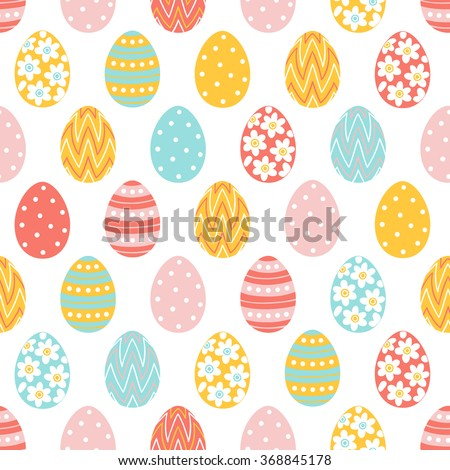 Easter seamless pattern with colorful eggs. Perfect for wallpaper, gift paper, pattern fills, web page background, spring and Easter greeting cards - stock vector