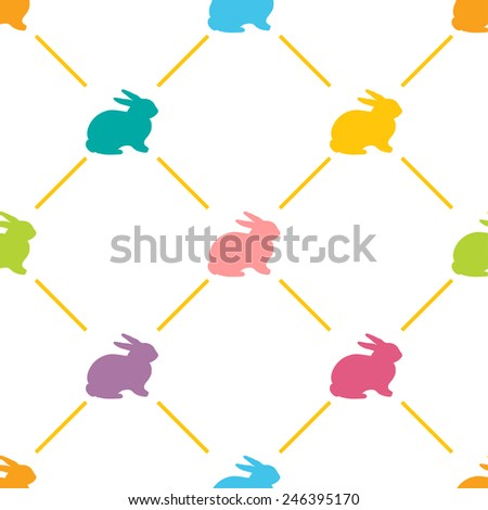 Easter Seamless pattern with cute rabbits, Vector illustration. Background with bright colors rabbit - stock vector