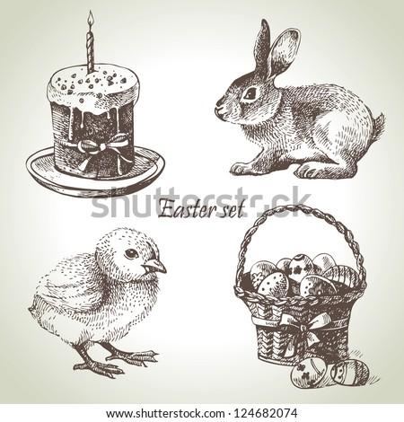 Easter set. Hand drawn illustrations - stock vector