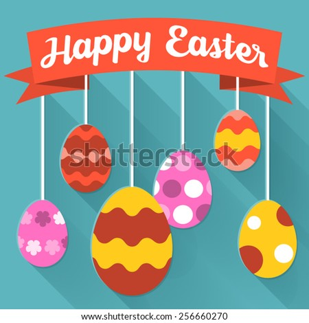 Easter Set of vector eggs for happy easter day - stock vector