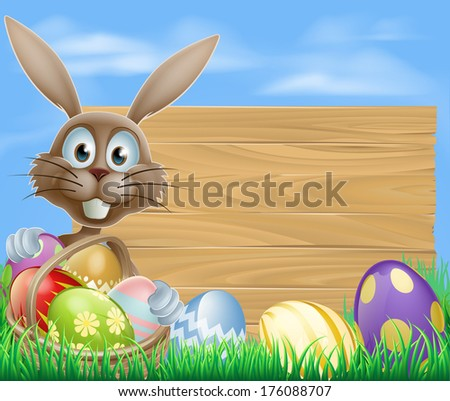 Easter sign with Easter bunny rabbit and Easter eggs
