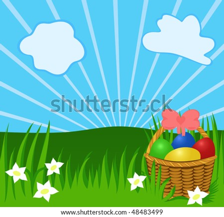 Easter sunny background with basket, eggs, greenery. Illustration for your design or postcard