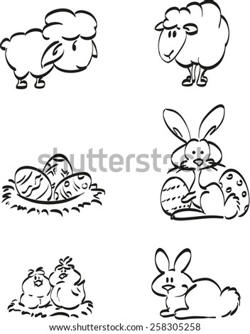 Easter symbol icons. Easter bunny, chickens and of course lambs in a coloring page for little children. - stock vector