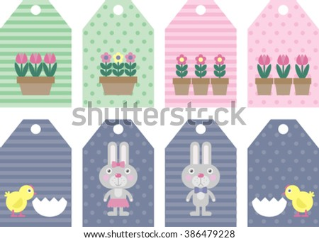 easter tag collection with bunnies , happy easter
