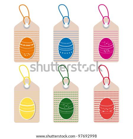 easter tags with colorful eggs