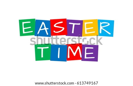 easter time, text in colorful rotated squares