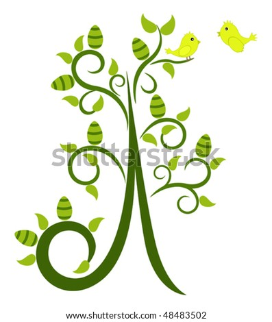 Easter Tree with happy little birds on it - stock vector