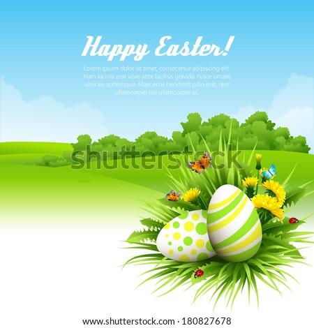 Easter vector background - stock vector