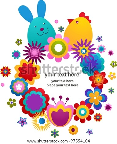 Easter vector background with bunny, flowers, eggs and bird - stock vector