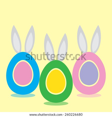 Easter vector eggs with rabbit ears. - stock vector