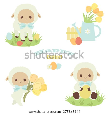 """Easter vector icons set. White lamb, flowers, eggs, watering can. """"Happy Easter"""" text. Over white background - stock vector"""