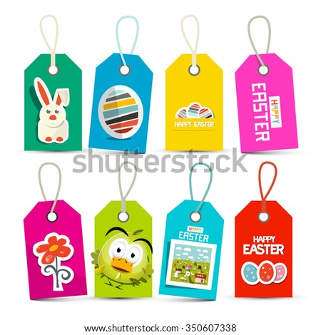 Easter Vector Paper Labels Set Isolated on White Background