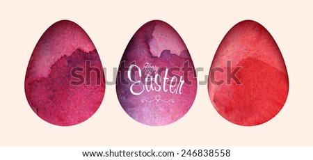 Easter Watercolor eggs set. Vector easter elements for background, banner or card design. - stock vector