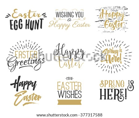 Easter wishes overlays, lettering labels design set. Retro holiday easter badges. Hand drawn emblem with ribbon. Isolated. Religious holiday sign or logo. Easter photo overlays design for web, print. - stock vector