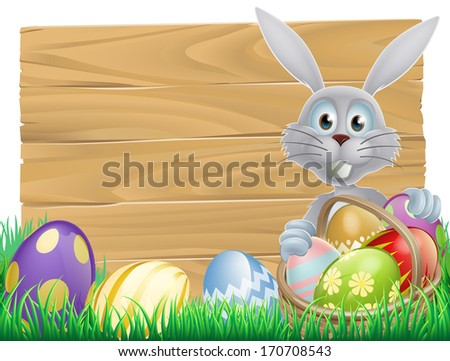 Easter wood sign with the Easter bunny and decorated Easter eggs