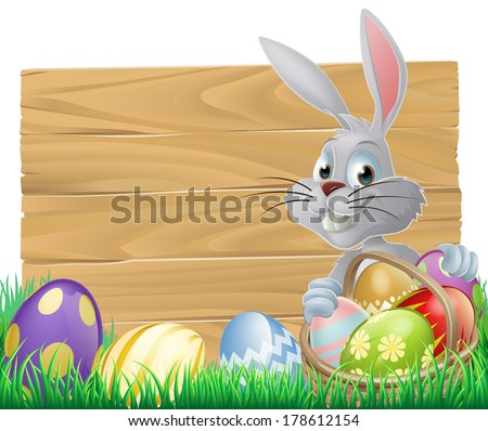 Easter wood sign with the Easter bunny and painted Easter eggs
