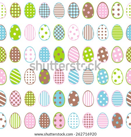 Easter wrapping paper with patterned eggs on white background - stock vector
