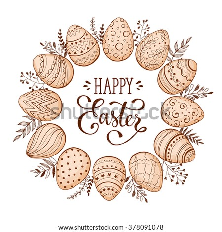 Easter wreath with easter eggs hand drawn black on white background. Decorative doodle frame from Easter eggs and floral elements. Easter eggs with ornaments in circle shape. - stock vector