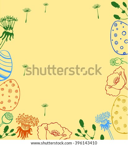 Easter wreath with easter eggs hand drawn. Decorative doodle frame from Easter eggs and floral elements. Easter eggs with ornaments in circle shape. - stock vector