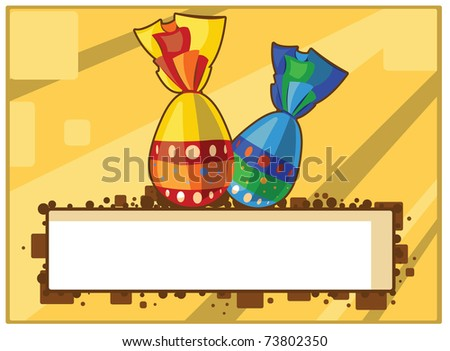Easter Yellow Postcard with Two Colorful Chocolate Eggs - stock vector