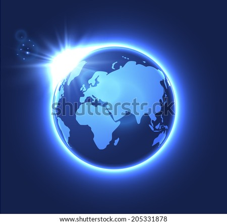 Eastern hemisphere globe background. Vector eps10