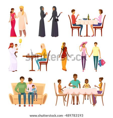 Eastern people decorative icons set of woman and man with children in modern and traditional clothes isolated vector cartoon illustration