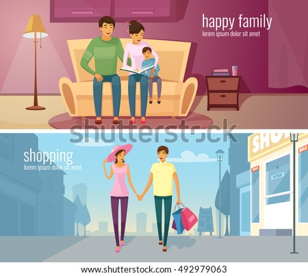 Eastern people two horizontal banners with young couple in modern home interior and outdoor at urban background vector cartoon illustration