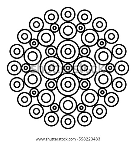 Easy Black And White Mandala For Coloring Book Pages Concentric Circles In A Doodle Floral