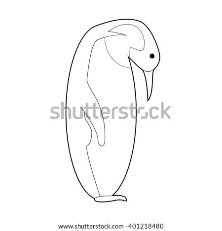 Easy Coloring drawings of animals for little kids: Emperor Penguin - stock vector