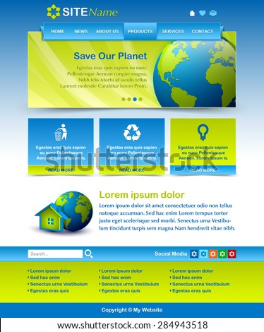 Easy customizable blue and green website template layout - stock vector
