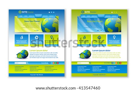 Easy customizable blue and green website template layouts - stock vector