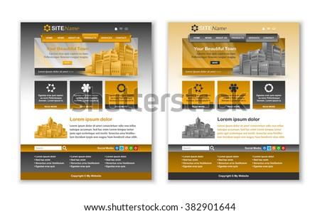 Easy customizable yellow ochre and dark grey website template layouts - stock vector
