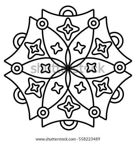 Easy Floral Black And White Mandala For Coloring Book Pages Abstract Doodle Flower Shape To