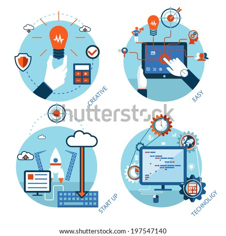 Easy management of technological projects. Start, service processes and analytics - stock vector