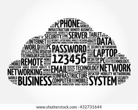 Easy Password 123456 word cloud concept - stock vector