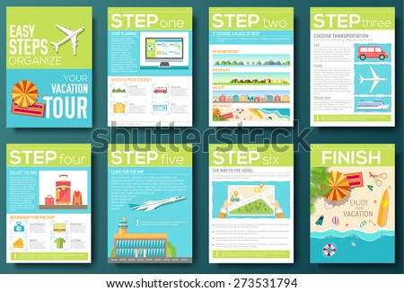 easy steps organize for your vacation tour flyer with infographics and placed text. Illustrated guide travel background. Book cover template design for web and mobile application on flat style - stock vector