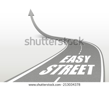easy street words on highway road going up as an arrow - stock vector