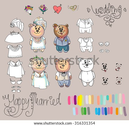 Easy to change clothes! Cheerful wardrobe. Vector. Separate layers. Beautiful illustration. You can paint it yourself and make different combination. Wedding. Married