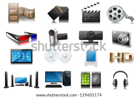 easy to edit collection of electronic and media device - stock vector